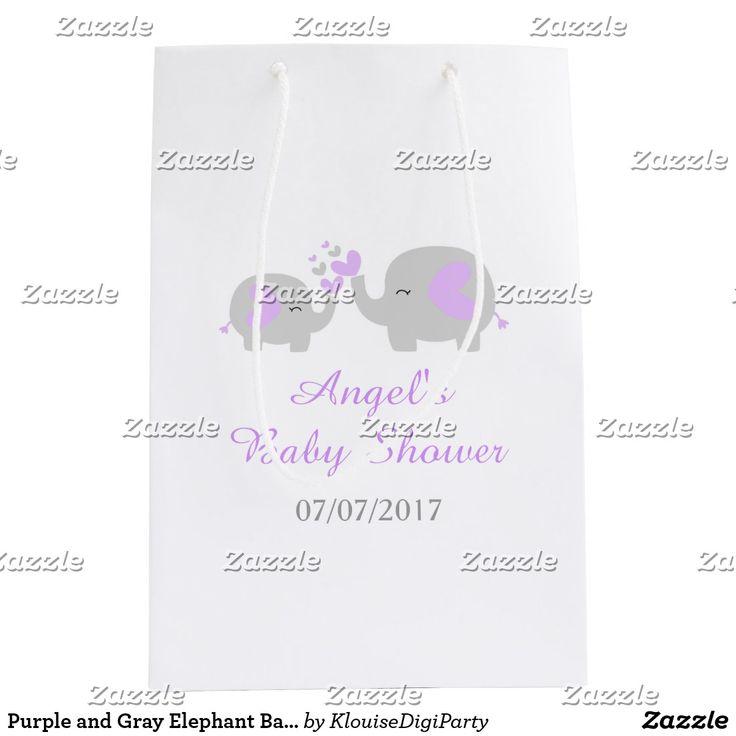 Purple and Gray Elephant Baby Shower Medium Gift Bag