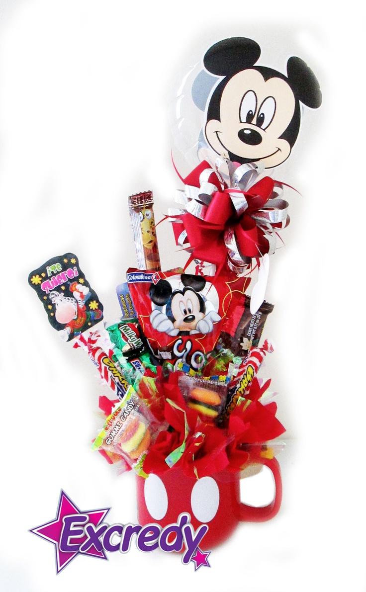 Mugs Mickey con Dulces.... ¡Comunícate con nosotros para darle vida a tus detalles! Celular: 311 313 01 52 Fijo: 4328101 - 4477830 Email: m.excredy@gmail.com