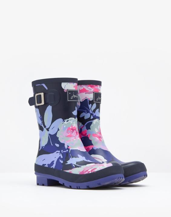 Molly French Navy Beau Bloom Printed Mid-Height Rain Boots   Joules US