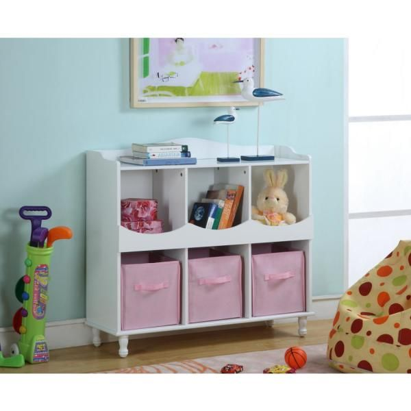 Signature Home 40 In W X 36 75 In H Kids 6 Cubby Toy Storage White Wood Chest With 3 Pink Fabric Bins 4101r In 2020 Pink Storage Bins Cubby Storage Kids Storage
