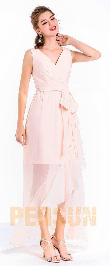 Robe de soirée mi longue rose pale col v avec ceinture jupe asymétrique à volants pour multi occasions comme gard robe