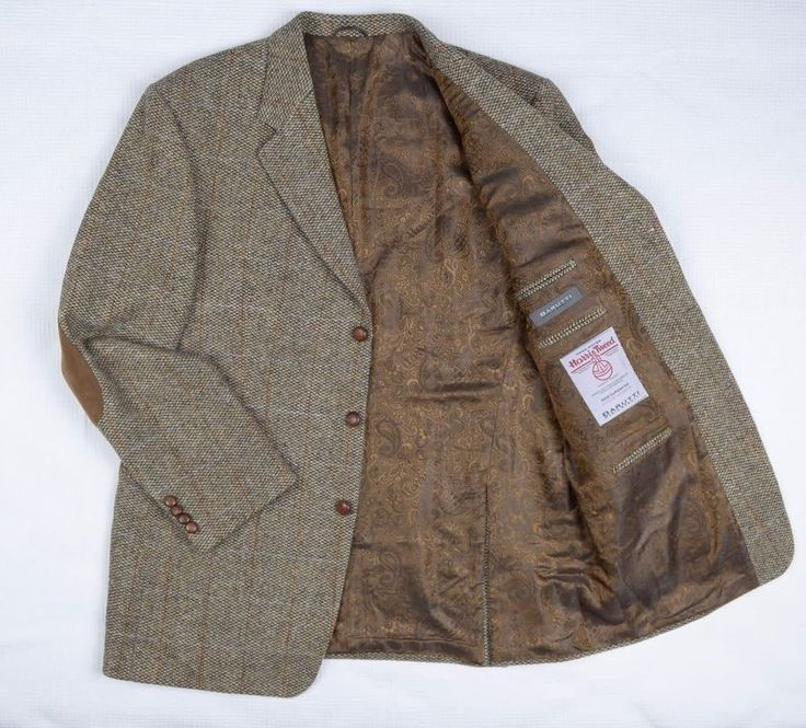 Vtg Harris Tweed Mario Barutti Checked Hacking Jacket Men