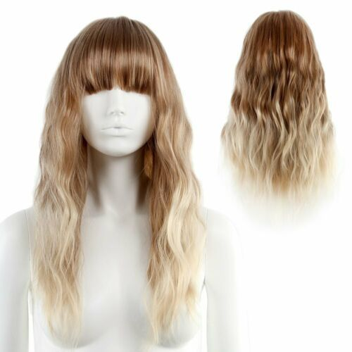 Fluffy Long Wavy Wig with Bang Two Tone Ombre Blonde Hair Costume Cosplay Daily