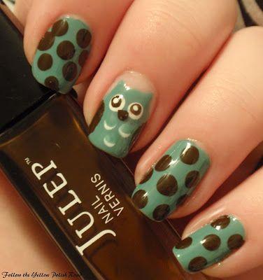 Polka Dot OwlOwl Nails, Polka Dots, Nailart, Nails Design, Nailpolish, Cute Ideas, Owls Nails Art, Nails Polish, Dots Owls