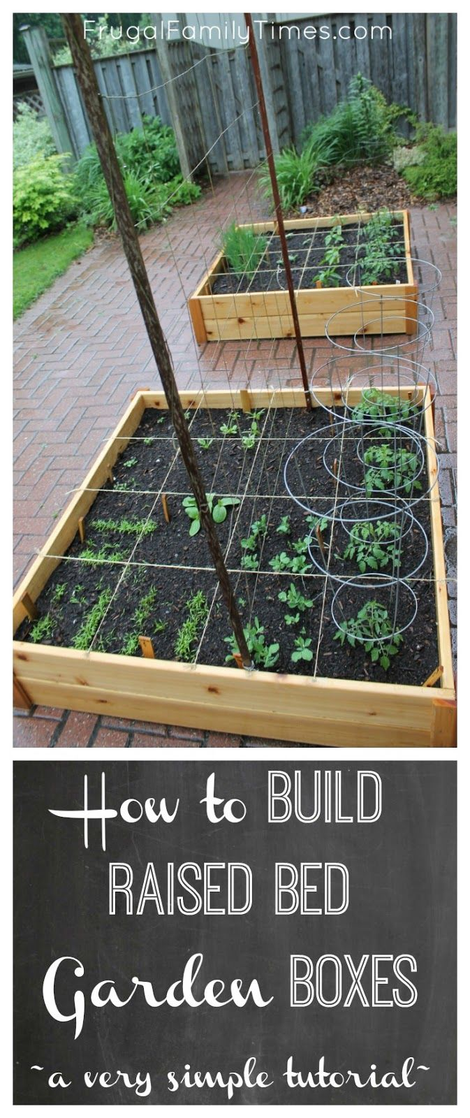 How to build simple raised garden beds.  A cheap and easy DIY. Ideas, tutorial and plans in this post. Ours is on top of a brick driveway, where we grow vegetables in an otherwise wasted space, but this would work on any surface.