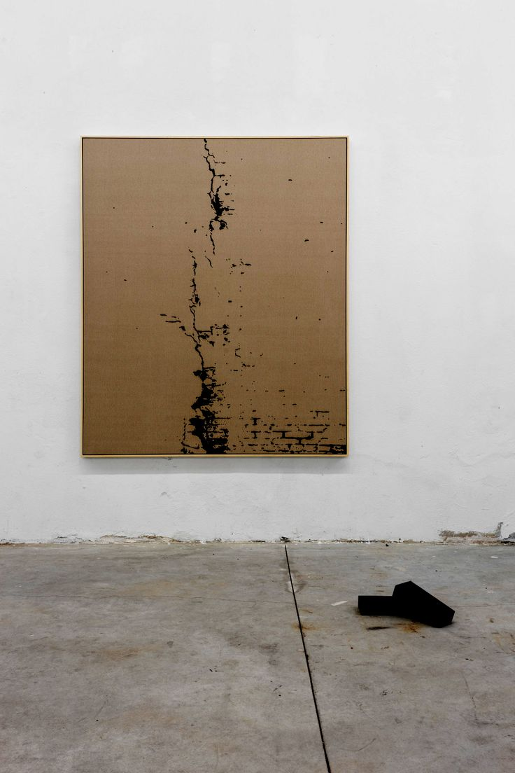 Pedro Matos_I was waiting for a rail replacement bus in Hackney Wick, 2016  / Oil on unprimed cotton canvas, wood stretchers, wood frame, 2 canvas wrapped bricks. 70 9/10 × 59 1/10 in 180 × 150 cm