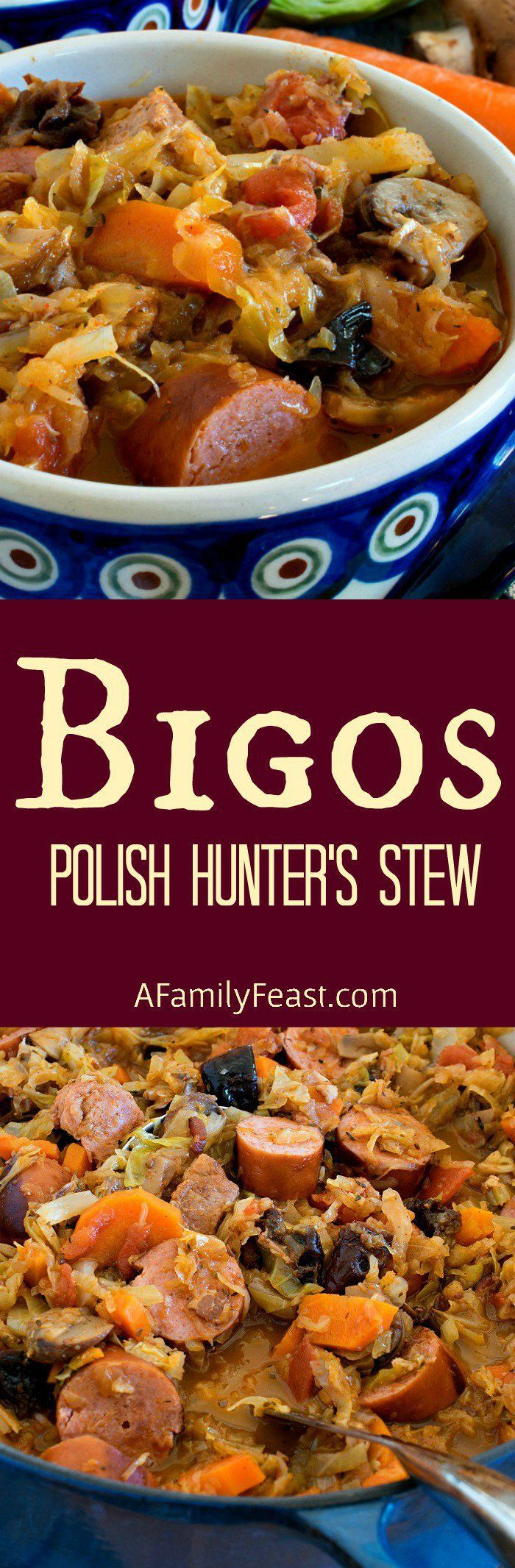 Bigos (also known as Polish Hunter's Stew) is a hearty delicious dish made with meat, cabbage, sauerkraut and vegetables. (beef broth soup recipes healthy) #beefbrothrecipeshealthy