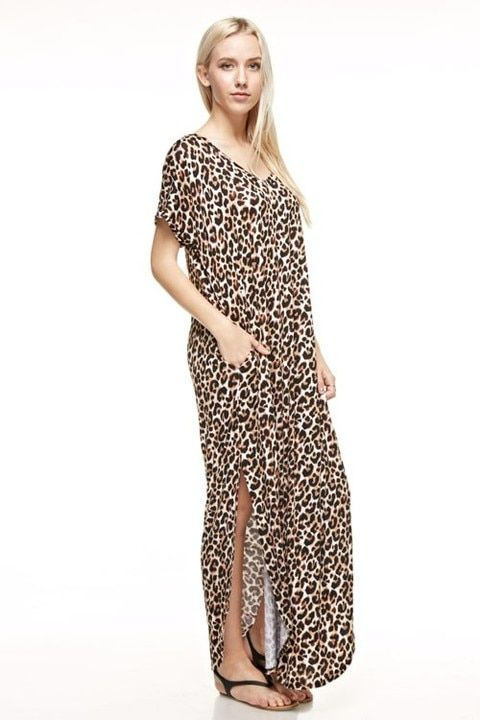 The Moments Matter Leopard Maxi Dress With Side Slits -Sizes 12-20