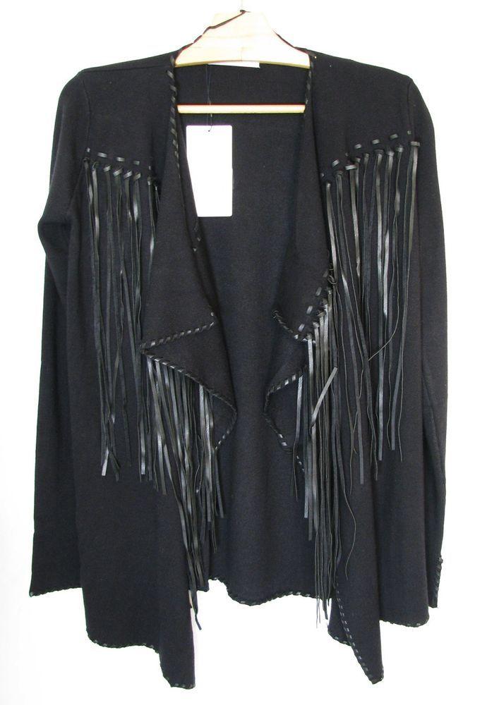 NWT ZARA Black Jacket with Fringe Blazer Knit with Fringing Size S Ref.3519/001 #ZARA #OtherJackets