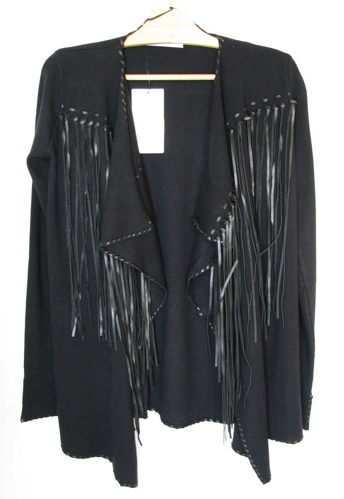 NWT ZARA Black Jacket with Fringe Blazer Knit with Fringing Size S Ref.3519/001 #ZARA #OtherJackets