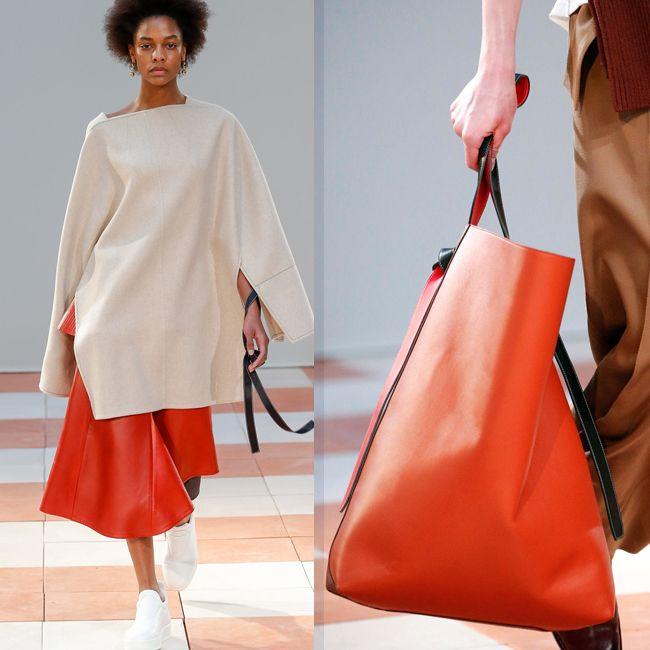 ярко-оранжевая кожаная юбки и сумка