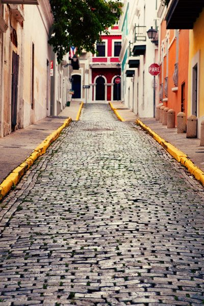 Puerto Rico Photo  Fine Art Photography  Brick Streets by Kim Fearheiley Photography