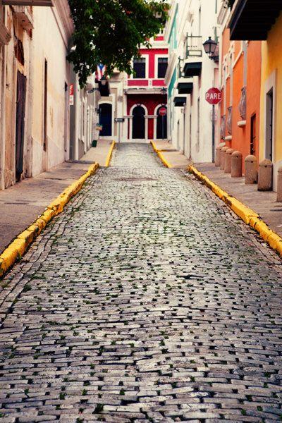 Puerto Rico Photo  Fine Art Photography  Brick Streets by Kim Fearheiley Photography