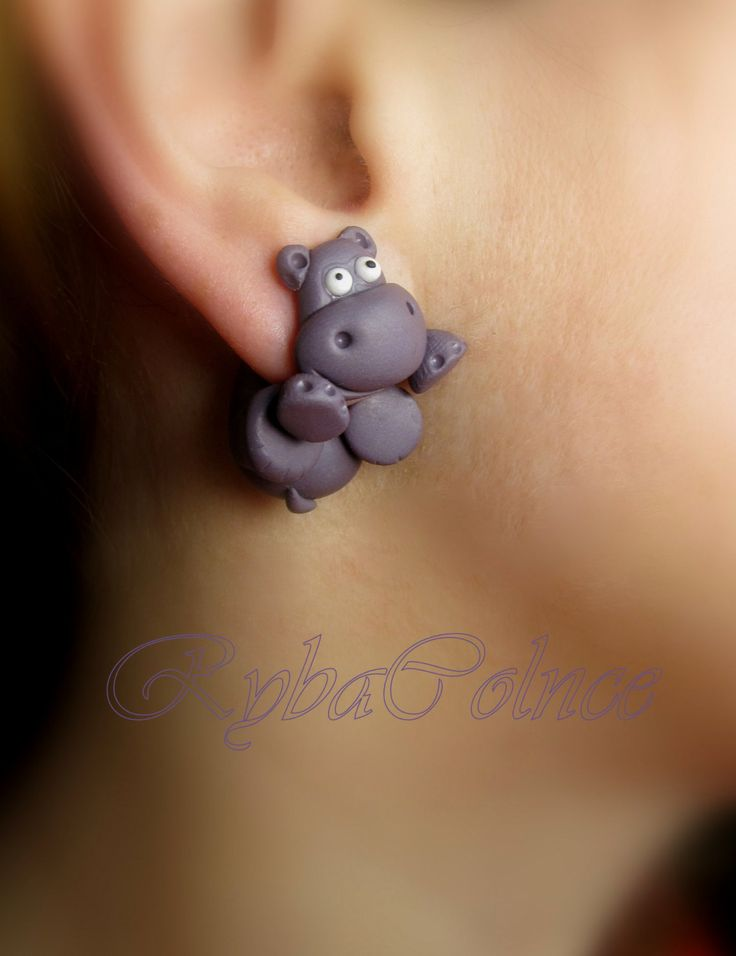 The Hippopotami Fake ear gauges - Faux gauge/Gauge earrings/plug/fake piercing by RybaColnce on Etsy