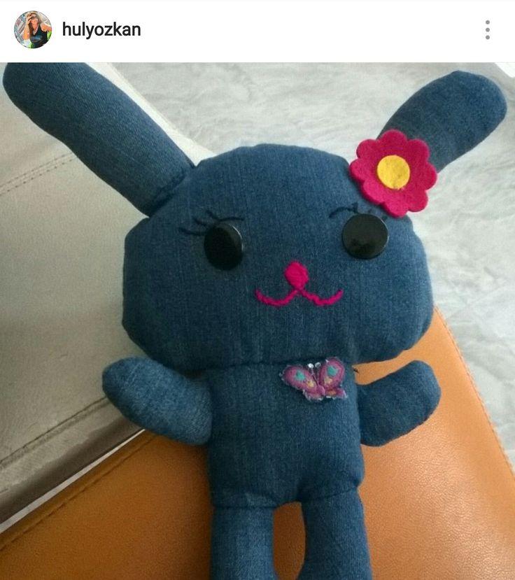 Eski kot etekten oyuncak tavşan yapımı
