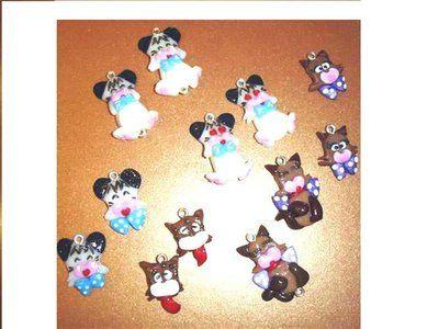 REVIVAL anni 80 HELLO SPANK - fimo - LOTTO OFFERTA STOCK - 6 ciondoli charms - idea regalo - kawaii - compleanno
