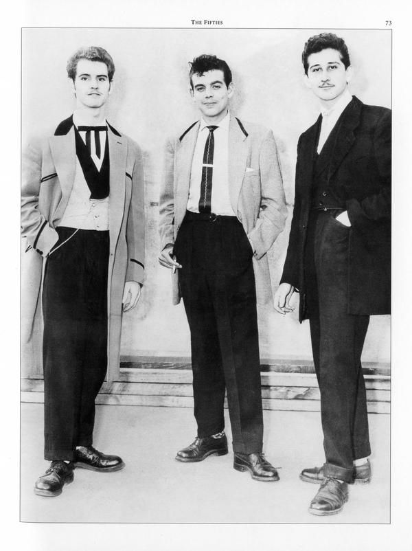 The Teds, as they called themselves, wore long drape jackets, velvet collars, slim ties and began to pair the look with thick rubber-soled creeper shoes and the 'greaser' hairstyles of their American rock'n'roll idols.