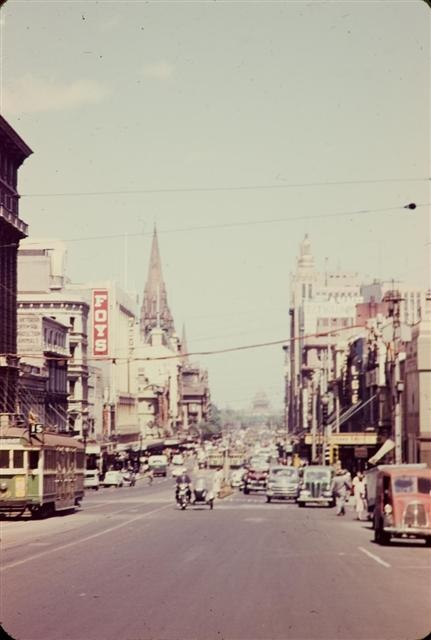 View of Swanston Street from Latrobe Street, Melbourne, 1957 Photographer: Marlene Austin