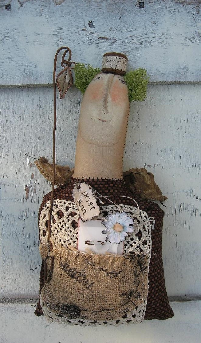 LOVE THE FACE!  The Postman Angel by Baggaraggs on Etsy