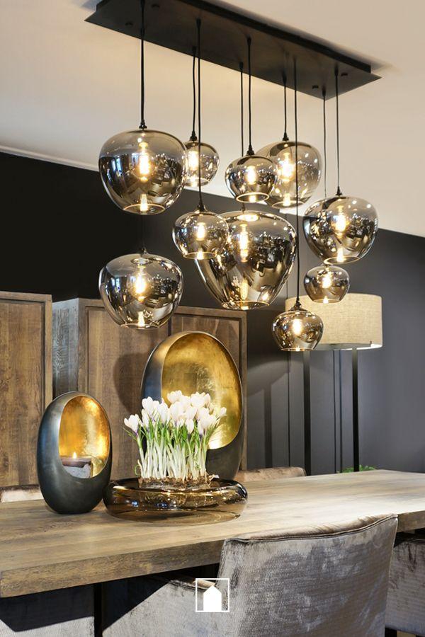 Sphere Bulbs Half Transparant Metallic Smoke In 2020 Eetkamer Lamp Design Huis Interieur Huis Interieur Design