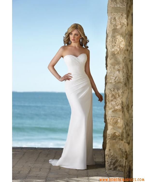Sans bretelle décolleté en coeur  sirène évasé perles satin et mousseline de soie robe de mariée