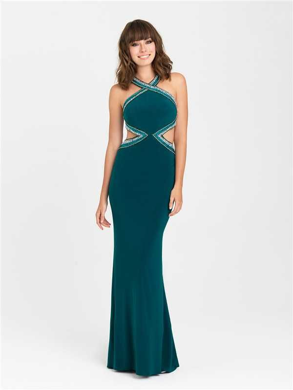 Long Fitted Cutouts Beaded Prom Dresses by Madison James 16-429 2017