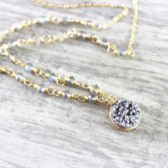 Silver Druzy and Labradorite Gold Necklace | Necklace | Jewelry | Gemstone Jewelry | #gemstone #gemstonejewelry #jewelry #handmadejewelry | www.starlettadesigns.com