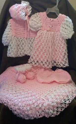 New Pink & White Crochet Baby Dress; (Sweater,Hat,Booties) or Afghan;Layette Set