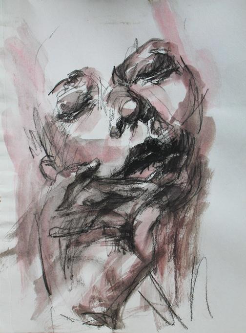 self portrait in charcoal, elly smallwood