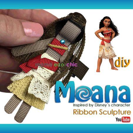 Moana Disney, ribbon sculpture, bow, lazo, moño. Tutorial, DIY https://www.youtube.com/channel/UCduStTT-bbKTQgfuf-usWLg