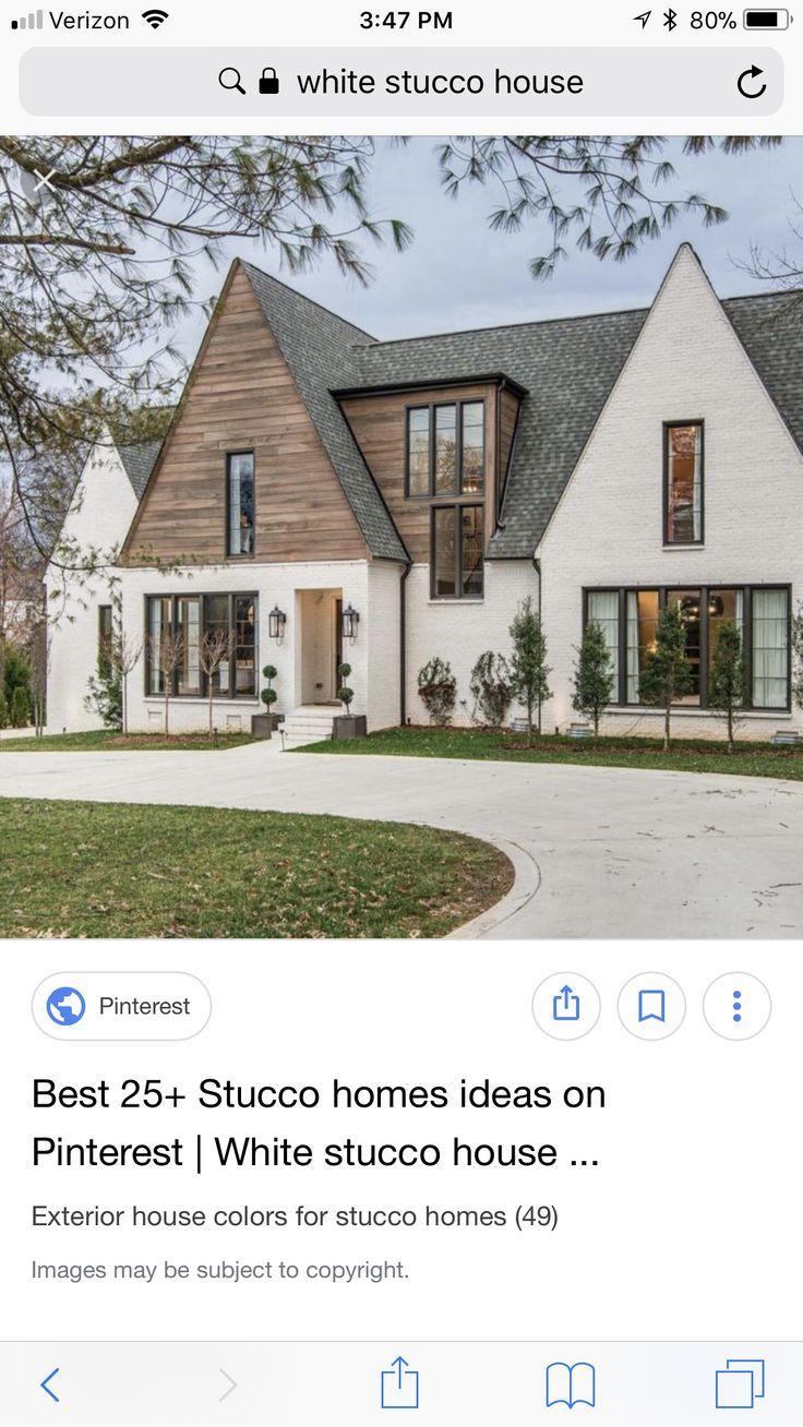 Wood Siding In 2020 White Stucco House Brick Exterior House Wood Siding Exterior