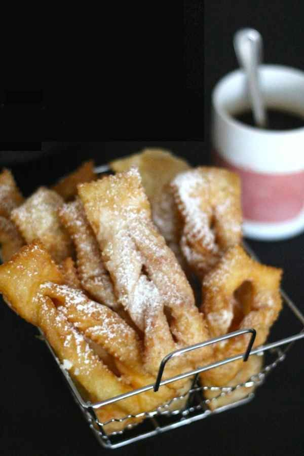 Poland Chrusciki - famous faworki, also called chruściki, chrusty or angel wings in English.  Crispy and fluffy; delicious