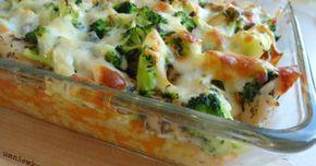 Zapiekanki - Zapiekanka z kurczakiem, ryżem i brokułami