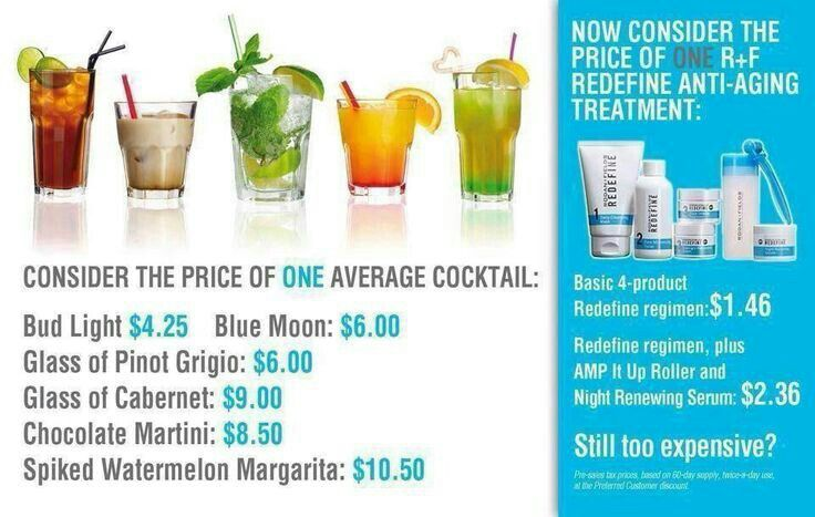 Think Rodan +Fields is too expensive? Compare our prices to a night out and lets be honest, who only has one beverage? Contact me for more information about Rodan +Fields clinically proven skincare. Kathycaffray@gmail.com 321.299.4229 https://kcaffray.myrandf.com/Pages/OurProducts/GetAdvice/SolutionsTool