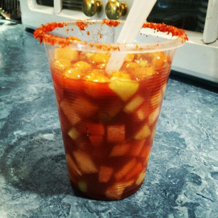 Gazpacho, botana deliciosa... piña, pepino, zanahoria y jicama finamente picados con clamato preparado. Fácil y refrescante para este calorcito!!!