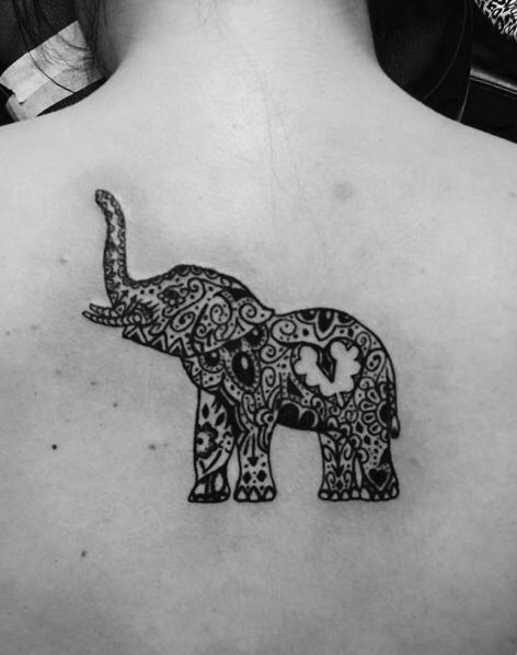 Elephant tattoo with tribal design ❤️