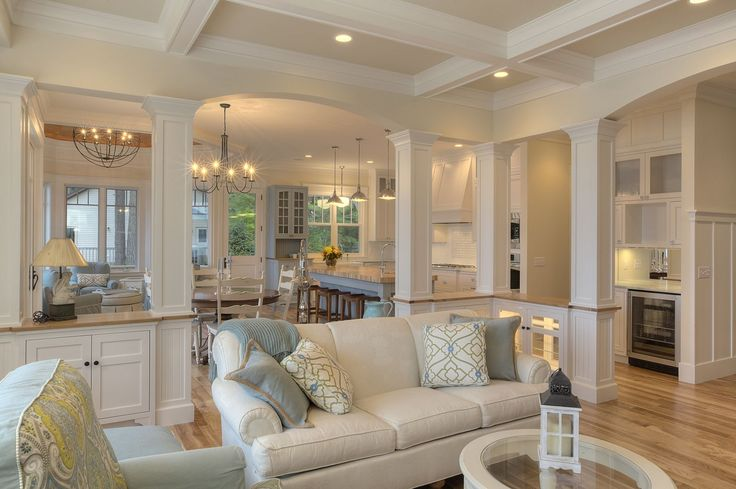 Obsessed with this layout! Love the way the kitchen is divided from the living room but still has the open concept.
