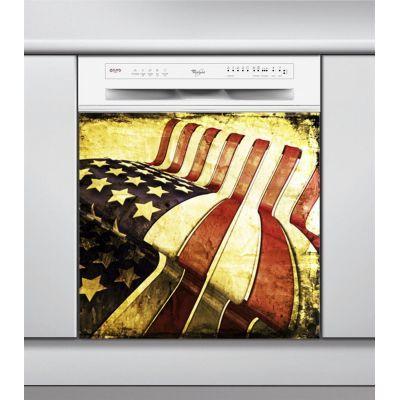 Sticker Lave Vaisselle drapeau amérique grunge