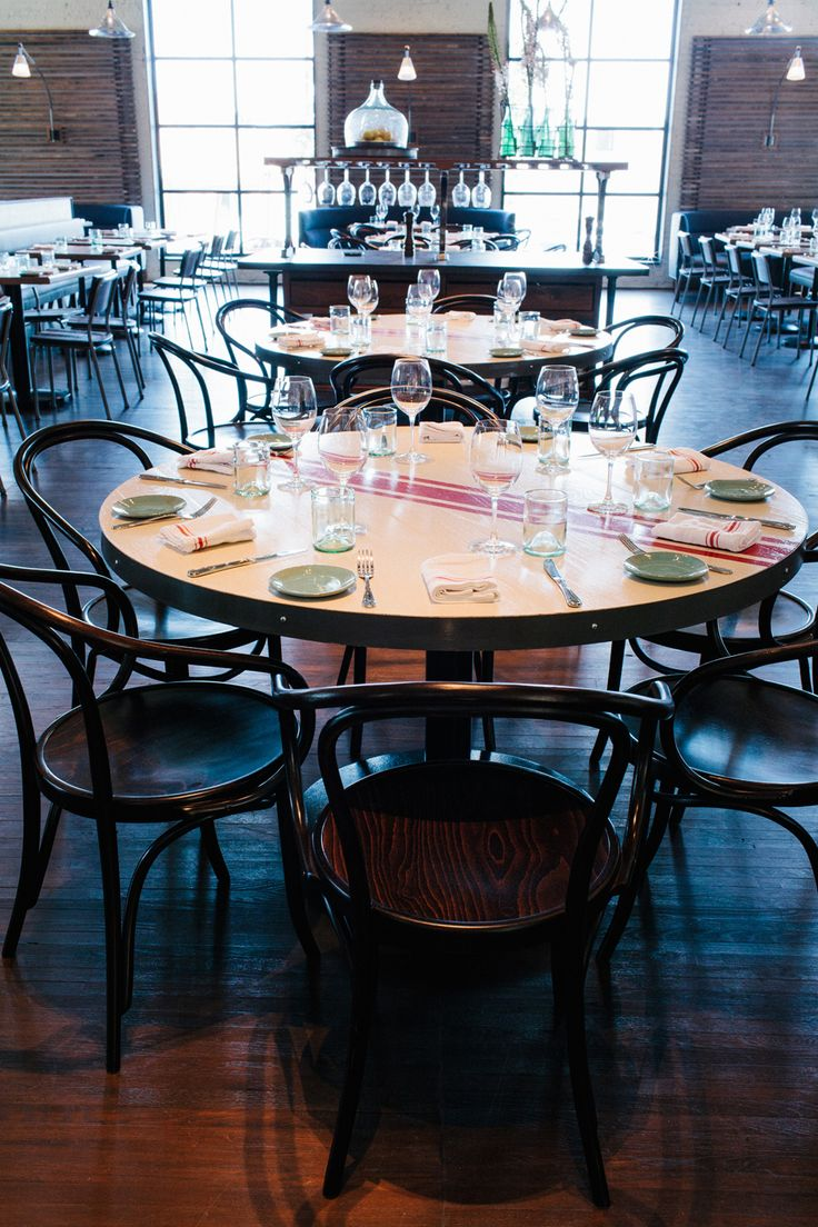 Douglas round dining table rustic finish achica - The Optimist Smith Hanes Restaurant Table Seating