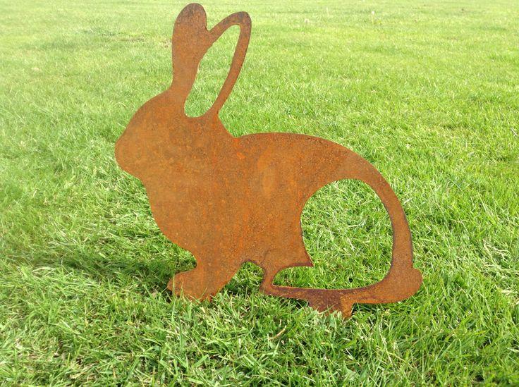 Rusty Rabbit Metal Garden Art Easter Bunny Metal