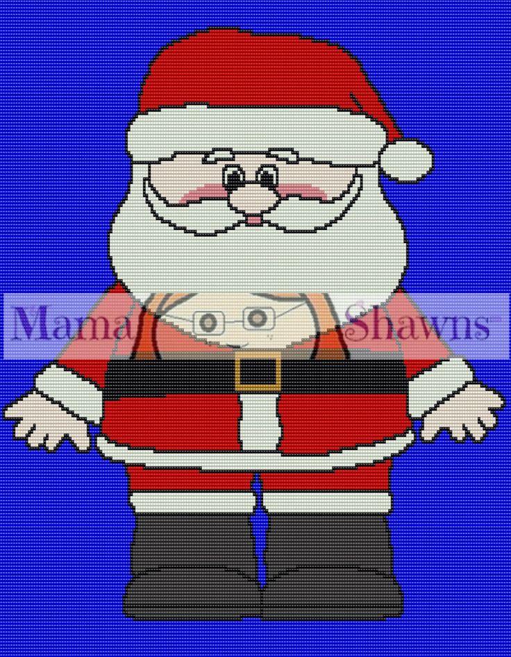 Santa Clause Graphghan, Written Pattern, Crochet Pattern, Word Chart, PDF Download, Christmas Crochet, Crochet Bedding, by MamaShawns on Etsy