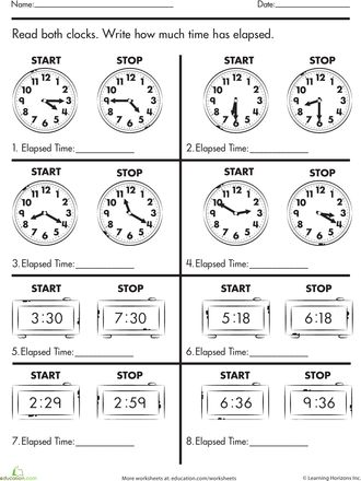 Worksheets: Calculate Elapsed Time