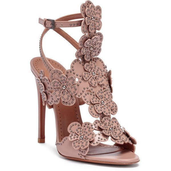 Tan Leather Floral Sandals (2,140 BAM) ❤ liked on Polyvore featuring shoes, sandals, beige, ankle strap sandals, tan high heel sandals, metallic sandals, beige sandals and studded sandals #tananklestrapsheels #tansandalsheels