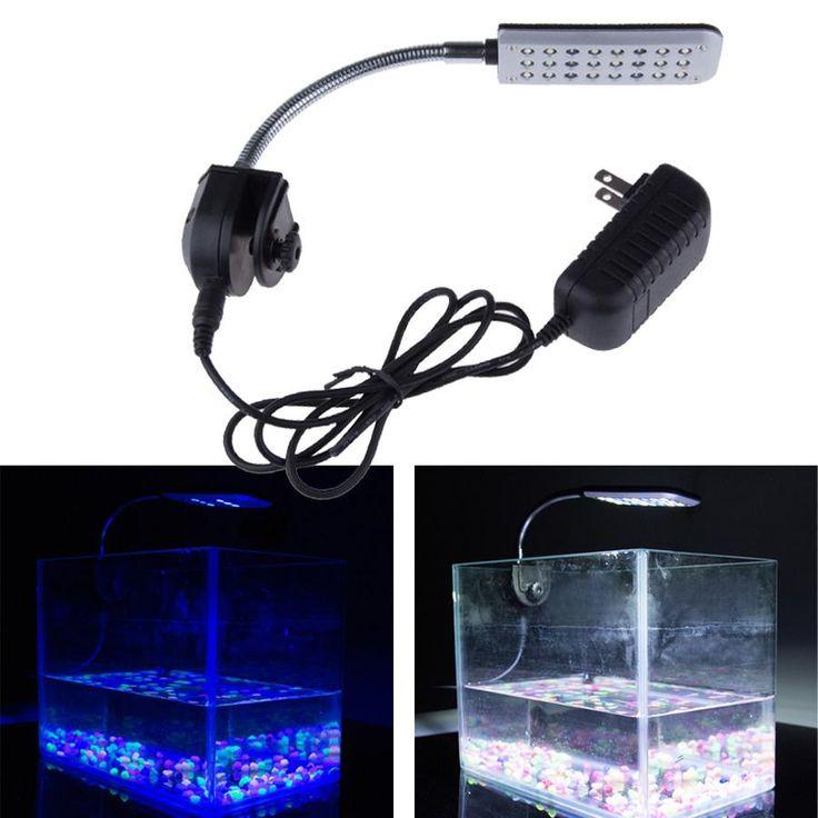 9CM 12V 24 LED Aquarium Light 2 Mode Clip Fish Tank Light White And Blue Water Plant Tropical Fish Grow Light Bulb Lamp