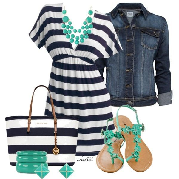 navy/white dress, denim jacket, turquoise sandals, turquoise accessories, navy/white MK purse