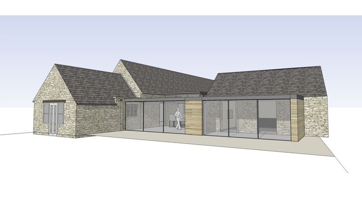 Modern link extension to grade 2 listed, stone house and barn. Timber glass and flat zinc roof. By RAW architecture.