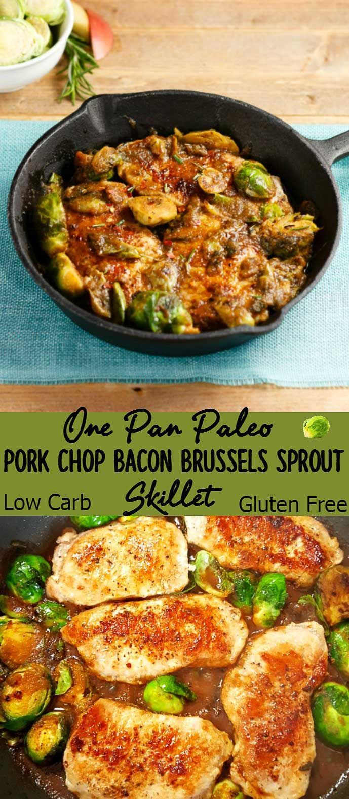 One Pan Pork Chop Bacon Brussels Sprout Skillet- Paleo, Low Carb, pork chops & Brussels sprouts & bacon in a sage apple balsamic glaze