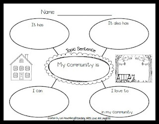 Community Web: Can be used for student to brainstorm and write a personal narrative about their community and what they like to do.