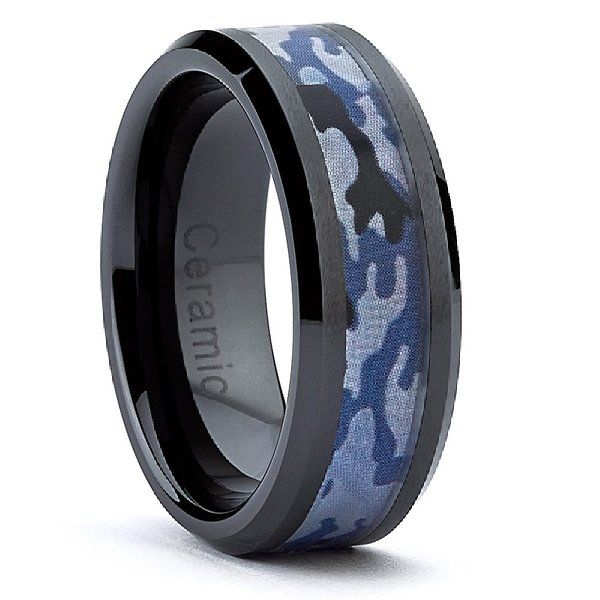 8MM Black Ceramic Military Black Blue Camouflage Band Army, Navy, Air Force, Marines Ring Size 13 $18