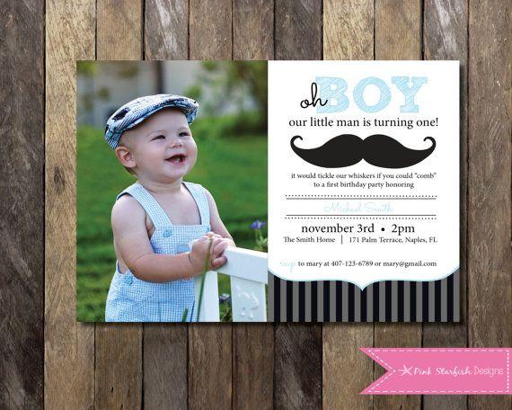 Best 25 Mustache first birthday ideas – Little Man Mustache Party Invitations